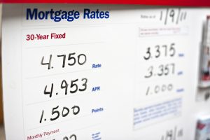 Mortgage rates sign in a board